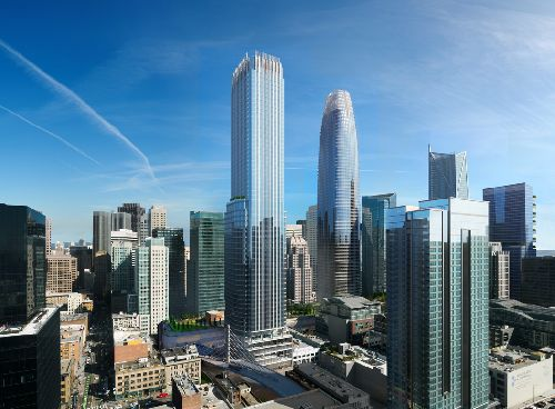 Updated rendering of Transbay Parcel F (left) next to the Salesforce Tower (right)