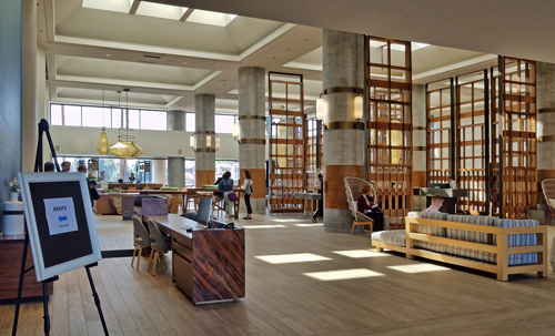 The lobby of the Westdrift Manhattan Beach Hotel, welcoming RENTV conference attendees